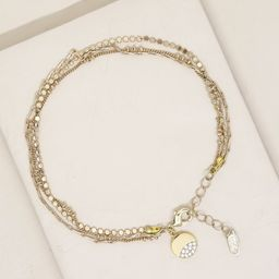 Crystal Dipped Multi 18k Gold Plated Chain Anklet   Ettika