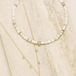 Make Waves Layered 18k Gold Plated Crystal Necklace Set   Ettika