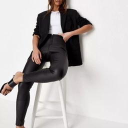 Black Vice High Waisted Coated Skinny Jeans | Missguided (UK & IE)