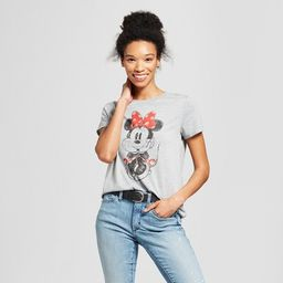 Women's Disney Minnie Mouse Short Sleeve Watercolor Graphic T-Shirt (Juniors') Gray   Target