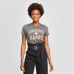 Women's Disney Choose Happy Short Sleeve Graphic T-Shirt (Juniors') - Charcoal Heather   Target