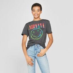 Women's Nirvana Neon Smile Short Sleeve Boyfriend Graphic T-Shirt - (Juniors')   Target