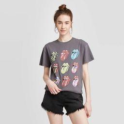 Women's Rolling Stones Short Sleeve Boyfriend Graphic T-Shirt (Juniors') - Gray   Target
