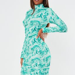 Blue Tie Dye High Neck Ruched Mini Dress | Missguided (US & CA)