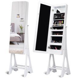 Costway LED Jewelry Cabinet Standing Armoire Organizer w/ Bevel Edge Full Size Mirror | Walmart (US)