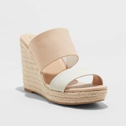 Women's Adelina Microsuede Two Band Espadrille Wedge Pumps - A New Day™   Target