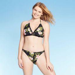 Women's Crochet Trim Triangle Bikini Top - Xhilaration™ Black Floral | Target