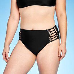 Women's Strappy Knotted High Waist Cheeky Bikini Bottom - Xhilaration™ Black | Target