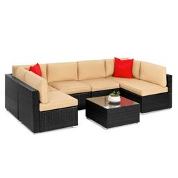 Best Choice Products 7-Piece Modular Outdoor Patio Furniture Set, Wicker Sectional Sofas w/ Cover... | Walmart (US)