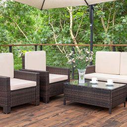 Walnew 4 Pieces Outdoor Patio Furniture Sets Rattan Chair Wicker Conversation Sofa Set, Outdoor I...   Walmart (US)