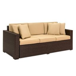 Best Choice Products 3-Seat Outdoor Wicker Sofa Couch Patio Furniture w/ Steel Frame and Removabl... | Walmart (US)