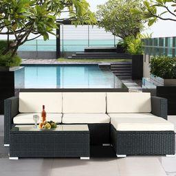 Costway 5-piece Patio Furniture Set Rattan Wicker Table Shelf Garden Sofa with Beige Cushions   Walmart (US)