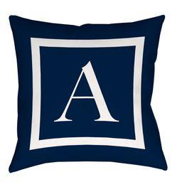 IDG Classic Block Monogram Decorative Indoor/Outdoor Pillow, Blue | Walmart (US)