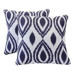 Better Homes & Gardens 2-Piece Outdoor Toss Pillow Set, Indigo Blue Ikat | Walmart (US)