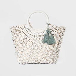 Floral Crochet Circle Soft Tote Handbag - A New Day™ Natural | Target