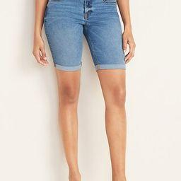 Mid-Rise Cuffed Bermuda Slim Jean Shorts for Women -- 9-inch inseam | Old Navy (US)