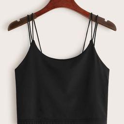 Multi-strap Crop Black Cami   ROMWE