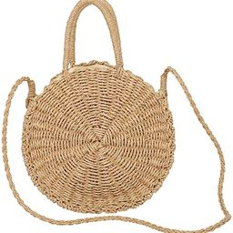 Large Straw Beach Bag with Inner Pouch by Hera Amour | Crossbody Summer Beach Tote with Top Handl... | Amazon (US)