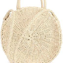 Straw Bag Crossbody for Women Weave Shoulder Bag Round Summer Beach Purse and Handbags | Amazon (US)