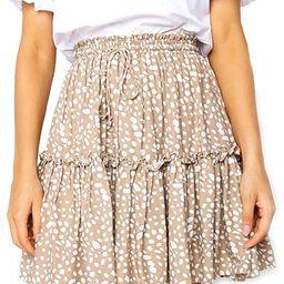 Relipop Women's Flared Short Skirt Polka Dot Pleated Mini Skater Skirt with Drawstring | Amazon (US)