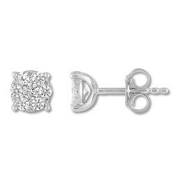 Diamond Stud Earrings 1 ct tw Round-cut 14K White Gold   Kay Jewelers