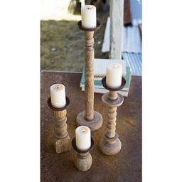 Recycled Wood Turned Candle Holders, Set of 4   Kirkland's Home