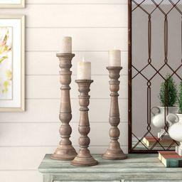 3 Piece Lincoln Wood Candlestick Set   Wayfair North America