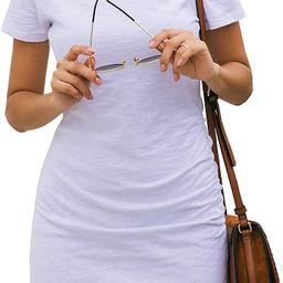 BTFBM Women's 2020 Casual Crew Neck Ruched Stretchy Bodycon T Shirt Short Mini Dress | Amazon (US)