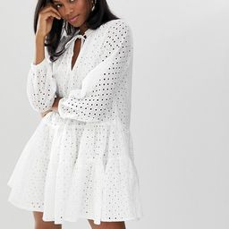 ASOS DESIGN tiered trapeze mini dress in broderie | ASOS US