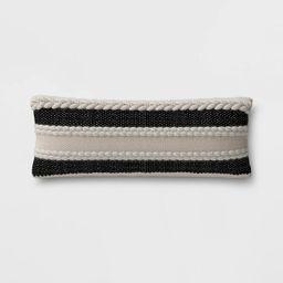 Stripe Outdoor Lumbar Decorative Pillow Black - Threshold™   Target