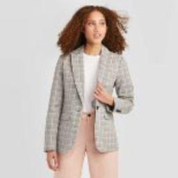 Women's Plaid Long Sleeve Blazer - A New Day™ Gray | Target