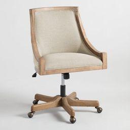 Natural Linen Henry Upholstered Office Chair | World Market