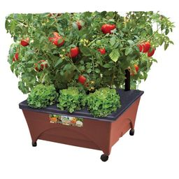 24.5 in. x 20.5 in. Patio Raised Garden Bed Grow Box Kit with Watering System and Casters in Terr...   The Home Depot