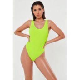 Neon Yellow Rib Scoop High Leg Swimsuit | Missguided (US & CA)