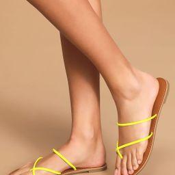 Krysti Neon Yellow Toe-Loop Flat Sandals | Lulus
