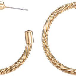 "925 Sterling Silver 18K White Gold Plated Open C Hoops Earrings 2"", Crystal Rhinestone Earring Gi... | Amazon (US)"