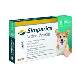 Simparica Chewable Tablets for Dogs, 22.1-44 lbs (Mint Box) | Chewy.com