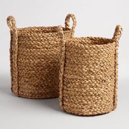 Natural Hyacinth Braided Cameron Tote Baskets, Small | World Market