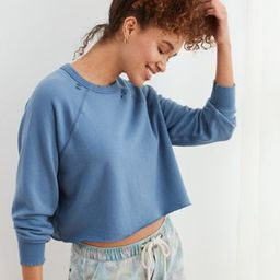 Aerie Sunday Soft Distressed Crew Sweatshirt | American Eagle Outfitters (US & CA)