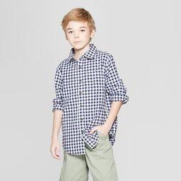 Boys' Gingham Long Sleeve Button-Down Shirt - Cat & Jack™ Navy | Target