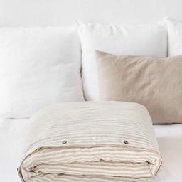 Spring SALE. Natural Striped linen duvet cover with vertical stripes. Soft linen bedding. Linen d... | Etsy (CAD)