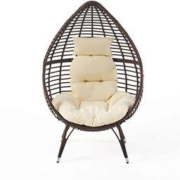 Christopher Knight Home Dermot Multibrown Wicker Lounge Teardrop Chair w/Cushion, Brown | Amazon (US)