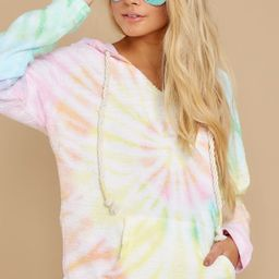 Hope For You Yellow Multi Spiral Tie Dye Hoodie | Red Dress