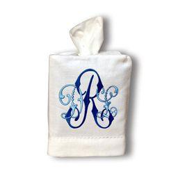 Monogrammed Linen Tissue Box Cover   Etsy (US)