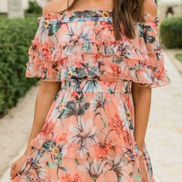 Just Between Us Peach Floral Dress SALE   The Pink Lily Boutique
