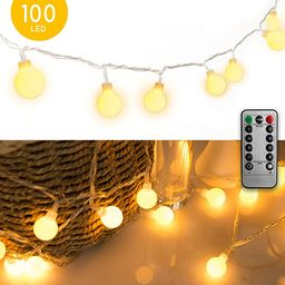 33 FT 100 LED Globe Ball String Lights, Fairy String Lights Plug in, 8 Modes with Remote, Decor f... | Amazon (US)