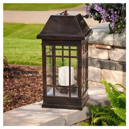 "San Rafael 24"" Estate Solar Mission LED Outdoor Lantern - Antique Bronze | Target"