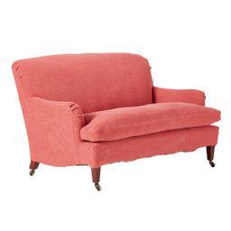 Linen Loose Cover For Coleridge 2-Seater Sofa - Coral   OKA Direct (UK)