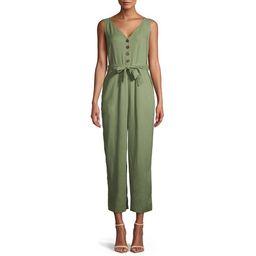 Time and Tru Women's Sleeveless Linen Jumpsuit with Tie Belt | Walmart (US)