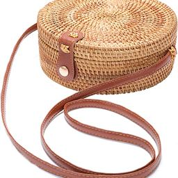 Handwoven Round Rattan Bag Shoulder Leather Straps Natural Chic Hand | Amazon (US)